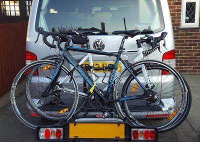 Bikes on back of campervan