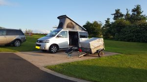 Campervan with roof popped
